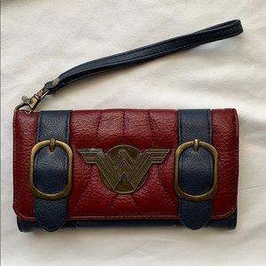 Handbags - Wonder Woman Navy Maroon Wallet Wristlet